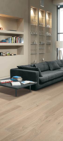 Natural Wood-Look Luxury Vinyl Plank in Living Room