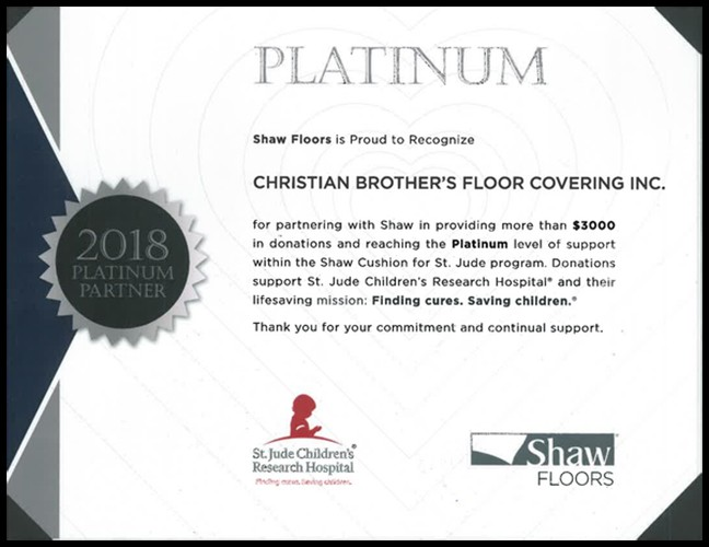 Christian brothers shaw platinum certificate | Christian Brothers Flooring & Interiors.