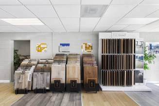 Variety of flooring products in showroom | Christian Brothers Flooring & Interiors.